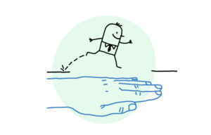 un homme est aidé par la psychothérapie il saute sur une main